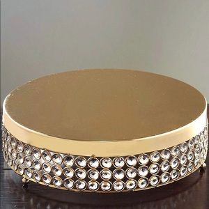 BRAND NEW Gold round cake stand with crystals
